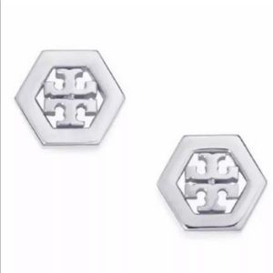 Tory Burch Hexagon Stud Earrings